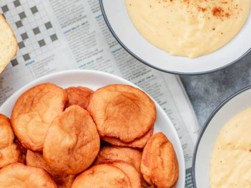 akara in a plate placed on old news paper