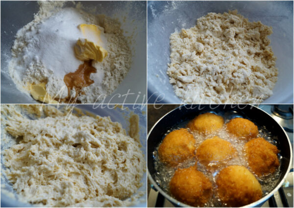 process shot of how to make buns in 4 different images