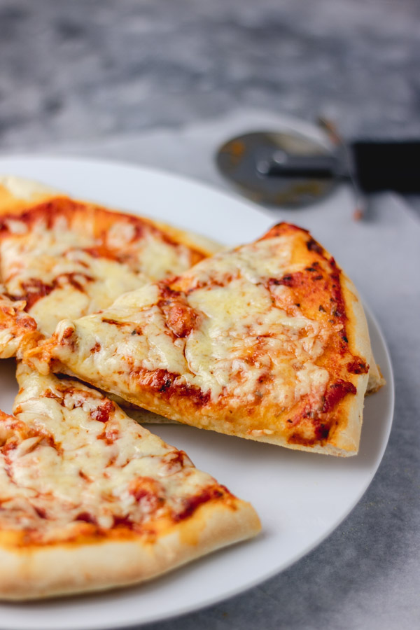 cheese and tomato pizza slices on a white plate.