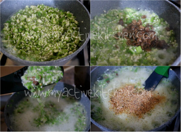 process shot of four images showing how to make plain okra