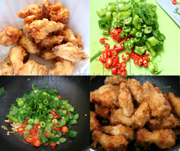 chopped chillies and fried chicken