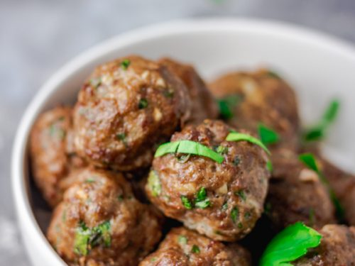 baked meatballs in a bowl