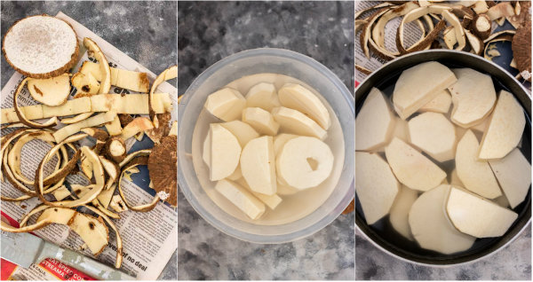 the process of peeling yam and cooking it.
